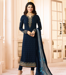 Buy Navy-blue embroidered georgette salwar party-wear-salwar-kameez online