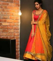 Buy Orange plain georgette salwar anarkali-salwar-kameez online