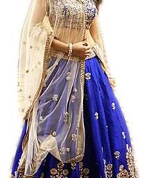 Buy Blue thread embroidery silk semi stitched lehenga bollywood-lehenga online