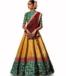 Buy Mustard thread embroidery silk semi stitched lehenga bridal-lehenga online