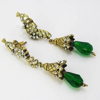 Victorian Slim Peacock Earring Emerald Green