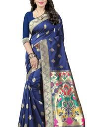 Buy Navy blue woven paithani silk saree with blouse paithani-saree online