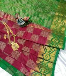 Buy Maroon Raw Silk Fancy Brocade kichha saree with unstitch Blouse brocade-saree online