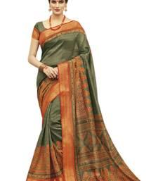 Buy Orange printed kanjivaram silk saree with blouse printed-saree online