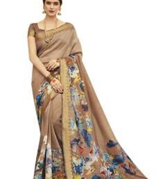 Buy Brown printed kanjivaram silk saree with blouse printed-saree online