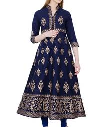 Buy Navy blue printed cotton long kurtis long-kurtis online