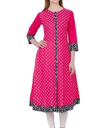 Buy Pink printed cotton long kurtis long-kurtis online
