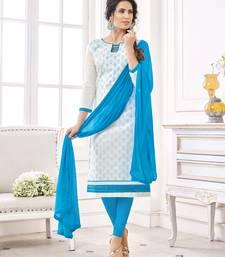 Buy White resham embroidery cotton salwar dress-material online