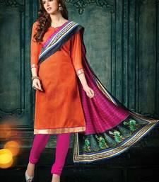 Buy Orange plain jacquard unstitched salwar with dupatta ethnic-suit online