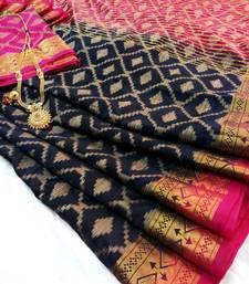 Buy Navy Raw Silk Fancy Gicha Diamond Brocade saree with contrast Pallu and unstitch Blouse brocade-saree online