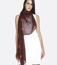 Buy Brown Pure Viscose Checkered Printed Scarf scarf online