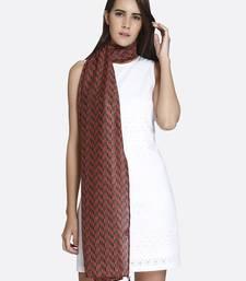 Buy Women Brown Poly Silk Zig - Zag Printed Scarf scarf online