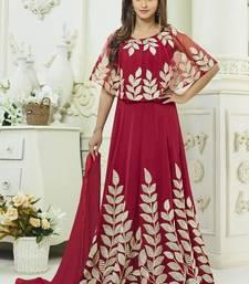 Buy maroon georgette embroidered semi stitched salwar with dupatta anarkali-salwar-kameez online