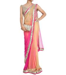 Buy Pink & Cream Net sequin embroidered border Party wear saree with unstitch blouse designer-embroidered-saree online