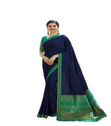 Buy Blue printed silk saree with blouse bollywood-saree online