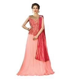 Buy Peach Color Net Wedding Wear Semi Stitched Lehenga Choli With Blouse lehenga-choli online