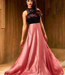 Buy Khwaab Rose pink satin partywear Embroidered Stitched Gown party-wear-gown online