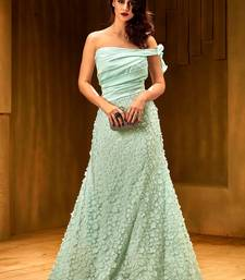 Buy Khwaab Light turquoise satin partywear Embroidered Stitched Gown party-wear-gown online