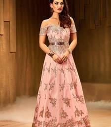 Buy Khwaab Blush pink creta fabric Partywear Stitched Gown party-wear-gown online