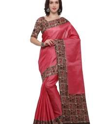 Buy Inddus pink art silk printed saree with blouse art-silk-saree online