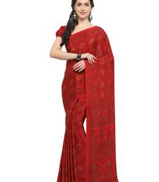 Buy Inddus red crepe printed saree with blouse crepe-saree online