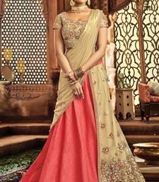 Buy Pink colored embroidered designer raw silk  net lahenga choli pakistani-lehenga online