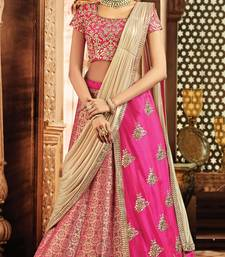 Buy Light pink colored embroidered designer jacquard silk  taffeta silk lahenga choli lehenga-choli online