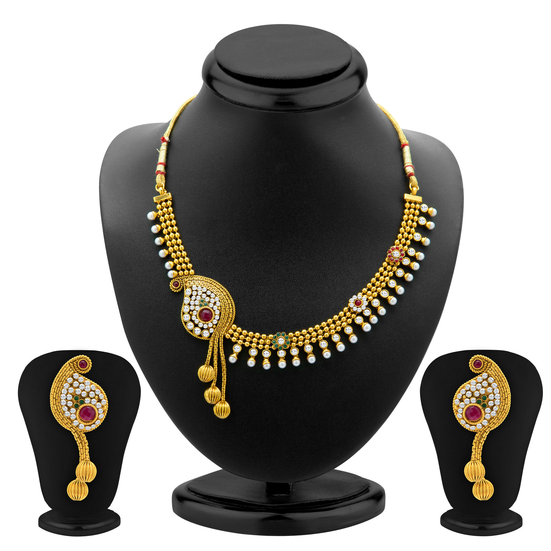 necklace cz kollam choker emerald ruby supreme online buy set bridal
