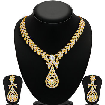 Stylish Gold Plated AD Necklace Set for Women