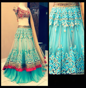 Buy Cream Net Embroidery Workd Bridal Lahenga Choli With