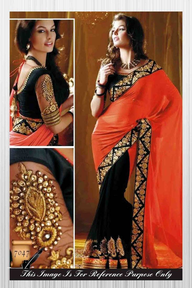 Buy orange & black embroidered georgette saree with blouse Online