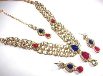 pink and Blue dulhan kundan necklace set