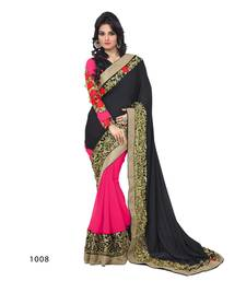 Buy BLACK - pink embroidered georgette saree with blouse other-actress-saree online