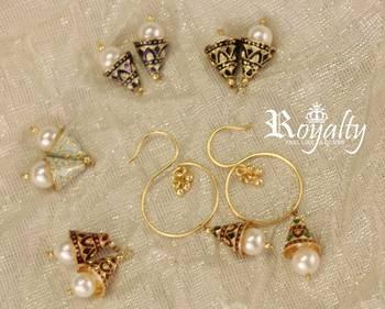 Royal golden Pearl jumkis adjustable earrings,Five designs