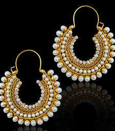 Bali hoop traditional INDIA bollywood polki pearl stone earring ABEA0203WH