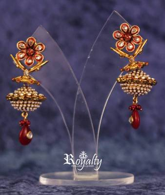 Royal Dull Golden Jhumka Pearls Earrings