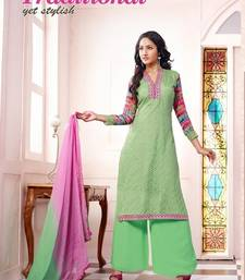 Buy Light-Green embroidered net semi-stitched salwar with dupatta palazzo online
