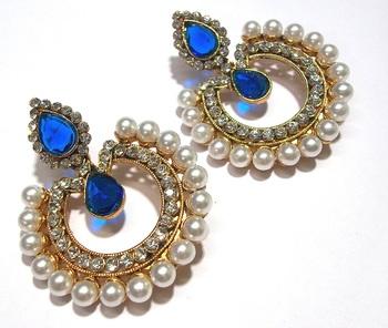 Blue Stone Pearl Polki Earring