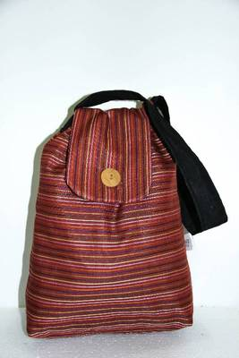 Bright Brown Threaded Multiple Strips Handbag