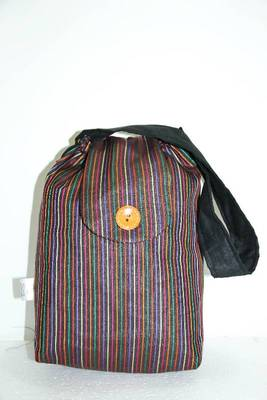 Black Threaded Multiple Strips HandBag