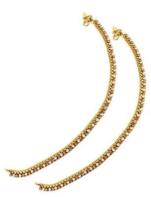 One Line Golden Beige Polki Stones Payal Anklet Jewellery for Women - Orniza