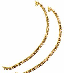 Buy One Line Golden Beige Polki Stones Payal Anklet Jewellery for Women - Orniza anklet online