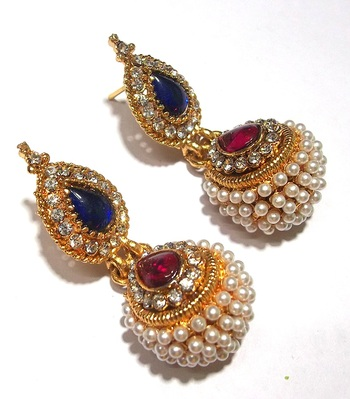 Pink and blue pearl jhumka earring