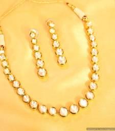 Buy Elegant Single line Kundan Necklace necklace-set online
