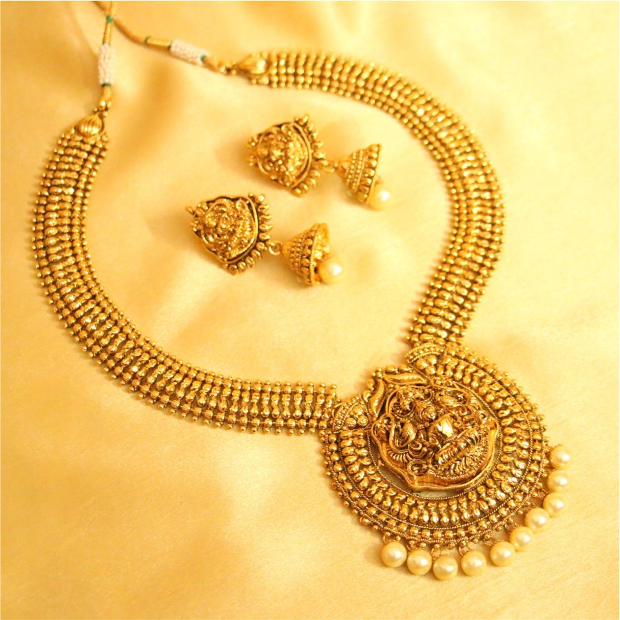 Buy antique temple jewellery pearl necklace set online aloadofball Choice Image