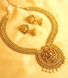 Buy antique temple jewellery pearl necklace set online aloadofball Gallery