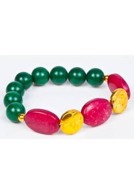 Piebee - Genuine Maroon and Green Jade Bracelet
