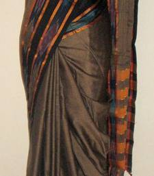 Buy Handloom saree - Gadwal Cotton with Pochampally Border - Brownish Grey hand-woven-saree online