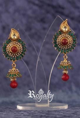 Royal Flower Pearls Gemstones Studded Earrings