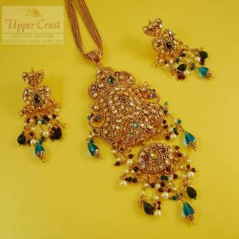 Multicolour Polki Chain Pendant Earring Jewellery Set
